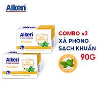 Aiken Combo 2 Xà Phòng Sạch Khuẩn Chiết Xuất Bạc Hà 90G/hộp
