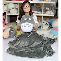 Bộ chăn gối văn phòng 3 chức năng Totoro tròn xám