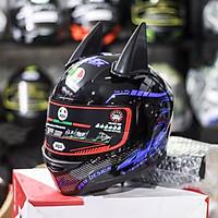 Nón Fullface AGU Tem 14 Xanh Dương Kèm Sừng Batman Sẵn keo siêu chất dành cho phượt thủ_ Mũ bảo hiểm có kính