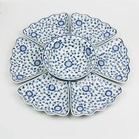Bộ Đồ Ăn Hoa Mặt Trời Bát Tràng Men Ngọc - Khử Chì Và Kim Loại Nặng - Hoa Đồng Tiền -55cm