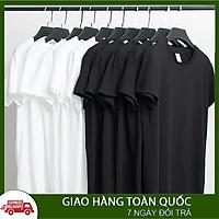 Áo thun unisex basic ngắn tay Trắng Đen mát mẻ đơn giản thấm hút mồ hôi dễ phối đồ dành chất cotton co dãn 4 chiều