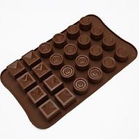 Khuôn silicon làm rau câu, socola 15 ô họa tiết đơn giản