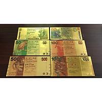 Bộ tiền Hồng Kông lưu niệm bằng plastic vàng 6 tờ óng ánh , tiền Hongkong plastic làm quà tặng sưu tầm , trang trí