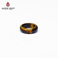 Nhẫn nữ đá mắt hổ vàng nâu mệnh thổ, kim - Ngọc Quý Gemstones