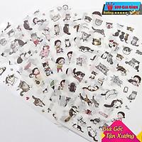 Bộ 6 Tấm Nhãn Dán Sticker Trang Trí Mèo Xám Hàn Quốc Siêu Dễ Thương
