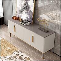 Kệ tivi cao cấp kiểu dáng đương đại, khung inox, mặt laminate chống trầy xước, có 2 ngăn mở lớn 4 cánh - EL-TV11 - Nội thất Elegant