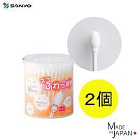Hộp 110 chiếc tăm bông cao cấp Nhật Bản Sanyo Swab 100% Bông gòn tự nhiên kháng khuẩn an toàn cho bé