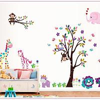 Decal dán tường Vườn thú đủ màu AmyShop DB033 ( 156 x 280cm)