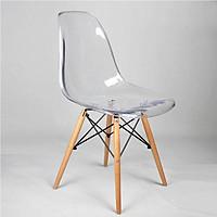 Ghế cà phê B484 chân gỗ, nhựa trong - DAF