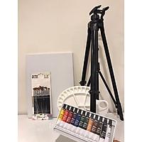 Bộ màu acrylic 12 màu + bộ bút lông đức 12 chiếc + giá để tranh xoay được, khay đựng màu, khung tranh cao cấp