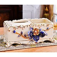 Hộp đựng giấy ăn và những vật dụng nhỏ nhặt khác bằng sứ cao cấp họa tiết hoa văn nổi phong cách tân cổ điển sang trọng, trẻ trung, thời thượng
