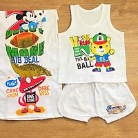 COMBO 5 Bộ quần áo thun cotton S-TomTom Baby | Mẫu Ba Lỗ Trắng Viền Trắng | Size 1 -10 cho bé trai 5-25kg| Chất vải thun cotton 100% xịn, đẹp, mềm | Đồ bộ bé trai | Quần áo trẻ em | hàng Việt Nam