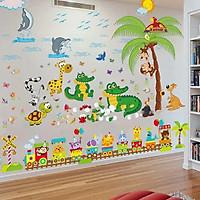 Decal dán tường Ao cá sấu và đoàn tàu thú - HP229