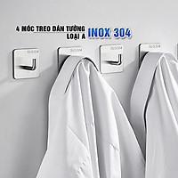 Combo 4 móc treo loại A, Inox 304, SUS304 dùng miếng dính dán tường không cần khoan, xắp xếp treo đồ đạc gọn gàng, tiết kiệm không gian, đồ dùng gia đình, Dan House 311-A4