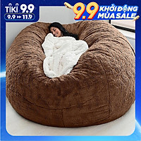 Home Sponge Bed Bean Bag Chair Cover Slipcover Double Bedroom Balcony Large Couch Round Soft Fluffy  Cover No Fillings