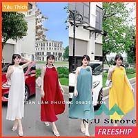Váy Maxi Hai Dây Xêp Ly Cực Sang - Đầm Hai Dây Đính Hoa Trước Ngực 4 màu cực yêu cho hè Nóng nực - NU