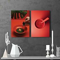 Bộ 02 Tranh Trang Trí Chủ Đề Tĩnh Vật Ấn Tượng Đồ Ăn Uống Màu Đỏ - Tranh Phẳng Canvas Mopi Căng Tràn Viền Khung Gỗ Phong Cách Bắc Âu (Gồm 2 Tranh 45x60cm) | MH-064