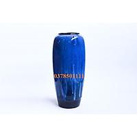 Bình hoa Bát tràng men hỏa biến xanh vân dáng ống cao S21