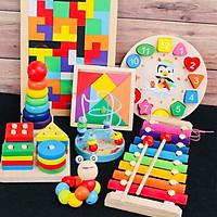 Combo 8 món đồ chơi gỗ an toàn cho bé- phát triển trí tuệ