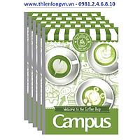 Lốc 5 quyển vở kẻ ngang 200 trang B5 Coffee Shop Campus NB-BCOF200 màu xanh