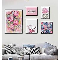 Bộ khung ảnh treo tường composite hoa hồng  kèm đinh 3 chân  KA231