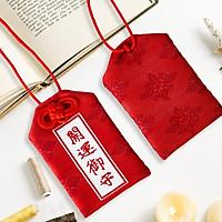 Túi gấm Omamori may mắn đỏ đun có kèm túi chống nước Túi Phước May Mắn dây treo trang trí