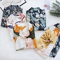 Bộ Đồ Pijama Nữ Cao Cấp Azuno BN0045 Mặc Nhà Ngắn Tay Chất Liệu Cotton Lụa Mặc Mùa Hè Rất Mát