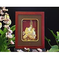 Tranh heo dát vàng  mẫu 03 (26x33cm) MT Gold Art- Hàng chính hãng, trang trí nhà cửa, phòng làm việc, quà tặng sếp, đối tác, khách hàng, tân gia, khai trương