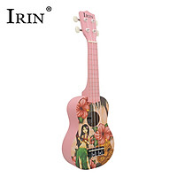 IRIN 21 Inch Acoustic Soprano Ukulele Ukelele Uke Basswood Material with Beautiful Hawaii Style Patterns Pink