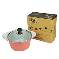 Nồi và quánh đúc men vân đá chống dính có nắp kính Greencook GCS05/02 (chọn size, chọn màu )-Hàng chính hãng