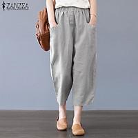S-5XL ZANZEA Women's Casual Harem Pants Cotton Ethnic Baggy Trousers Plus Size