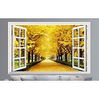 Tranh dán tường 3D cửa sổ mùa thu vàng - con đường mùa thu vàng - vải lụa kim tuyến