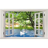 Tranh dán tường 3d cửa sổ đôi thiên nga ép lụa kim sa có sẵn keo CS08