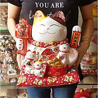 Mèo Thần Tài tay vẫy 27cm - Khai Vận Đa Phúc (tặng kèm 50 xu vàng mini may mắn)