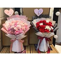 Bó hoa sáp VIP: Hồng Juliett mix Cẩm chướng, Tú cầu, hồng VIP