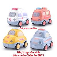 Đồ chơi xe quán tính có nhạc và đèn KAVY NO8808 gồm 4 xe taxi, cứu thương, cứu hỏa, cảnh sát