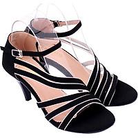 Giày Sandal Nữ Cao Gót Huy Hoàng HT7061 - Đen