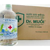Thùng Nước Súc Miệng Dr. Muối Hương Vỏ Chanh được làm từ 100% muối biển tự nhiên (9 chai 1 lít) + Tặng 9 gói Cà Phê Muối
