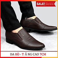 Giày Tăng Chiều Cao Nam - 7CM BÍ MẬT DA BÒ ĐẾ CAO SU