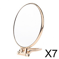 7xFolding Handheld Double Sided Mirror Table Makeup Mirror for Travel  Golden