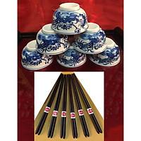 Bộ 6 bát cơm cúng & 6 đôi đũa gỗ trắc đũa đẹp đũa sạch