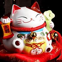 Mèo thần tài Nhật Bản May mắn Maneki neko-Như ý cát tường SW0902-17cm