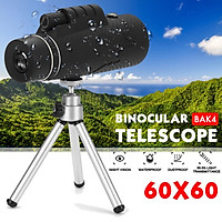60x60 Waterproof Tripod Monocular Telescope for Watching Sightseeing Military Army Outdoor Hunting Camping Travel Match