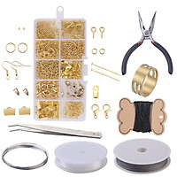 DIY Jewelry Findings Set Jewelry Making Kit Jewelry Starter Kit Jewelry Beading Making and Repair Tools Kit Pliers Silver Beads Wire Starter Tool