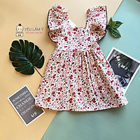Váy Hoa Nhí Cánh Tiên Cổ Vuông YLAMY Cho Bé Gái 1 Đến 5 Tuổi