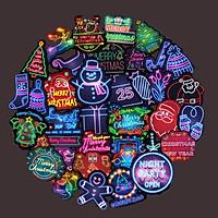 Bộ 50 miếng Sticker hình dán Chrismas Neon