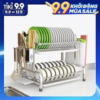 Kệ Để Chén Bát Đĩa INOX 304 kèm khay ráo nước cao cấp VANDO, giá úp bát khô ráo trên bàn bếp