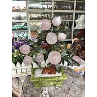 Cây đào phong thủy đá thạch anh hồng 9 quả - Cao 35 cm