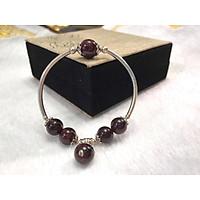 Lắc tay phong thủy đá Garnet Đỏ (Ngọc Hồng Lựu) Mix Charm Bạc 925