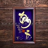 Tranh hoa sen và chữ tâm thư pháp dát vàng 24k MT Gold Art- Hàng chính hãng, trang trí nhà cửa, phòng làm việc, quà tặng sếp, đối tác, khách hàng, tân gia, khai trương